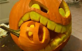 halloween eating small pumpkin carving creative ads and