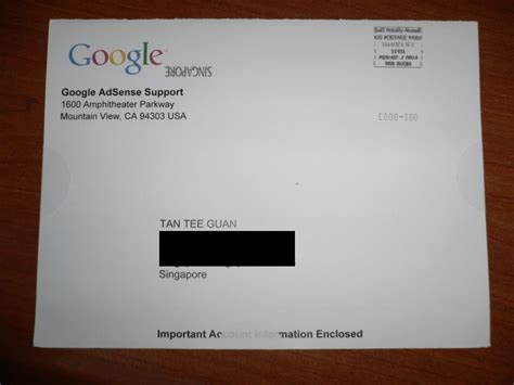 adsense letter pin code from google i m knight