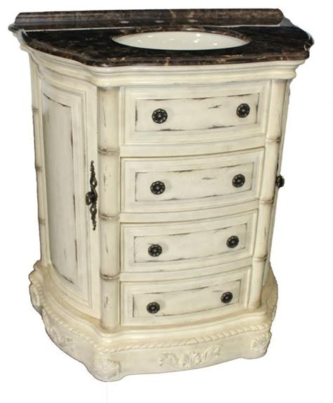 33 inch antiqued light brown two drawer single sink