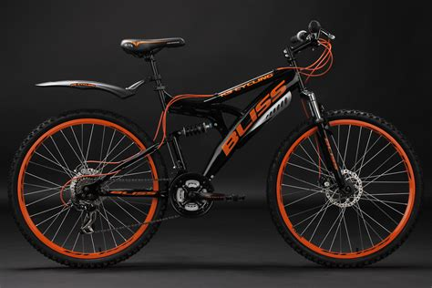 orange cycling mountain bike full suspension 26 quot quot bliss quot black orange 21