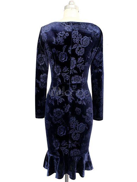 9181 Dress Mermaid multicolor bodycon dress mermaid print cotton dress milanoo