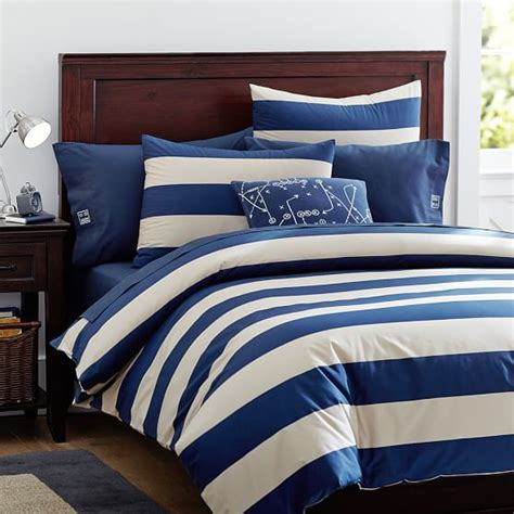 rugby stripe bedding rugby stripe duvet cover sham navy stone pbteen