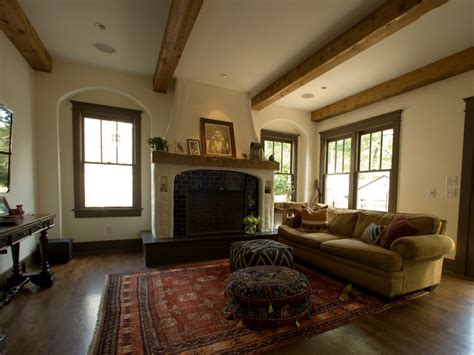 Reclaimed Wood Living Room by Living Room With Exposed Beams And Poufs Mediterranean