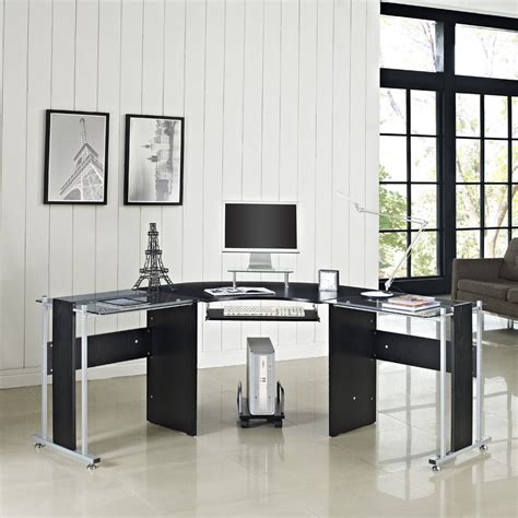 glass computer desk pc table home office furniture black