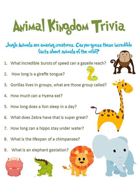 printable animal trivia jungle animal baby shower game 3 pack special