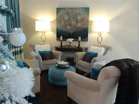 Teal Livingroom by Luxe Contemporary Living Room In Teal