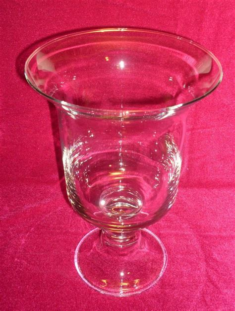 hurricane pillar candle vase glass clear 12 inch oos