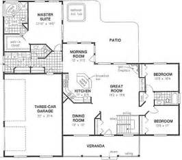 Ranch Floor Plans With 3 Car Garage by House Plan 58545 Ranch Plan With 2022 Sq Ft 3