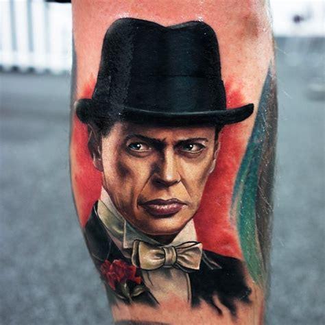 steve buscemi tattoo portrait on left leg