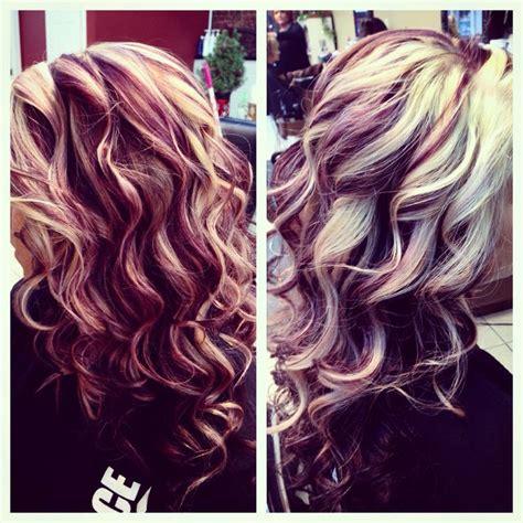 blonde purple dark brown  red love  hair