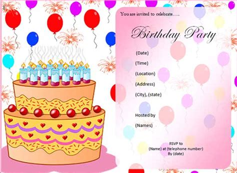 birthday cards invitations free templates sle birthday invitation template 49 documents in pdf