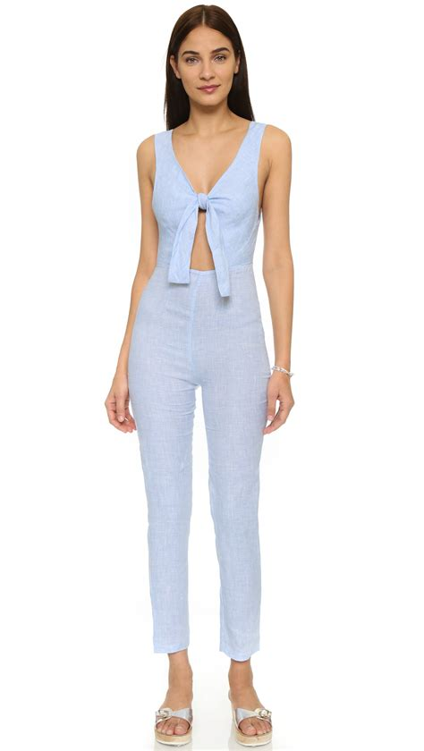 Jumpsuit Light solid striped the jumpsuit in blue lyst