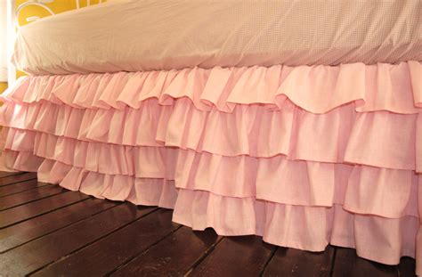 pink ruffled crib skirt