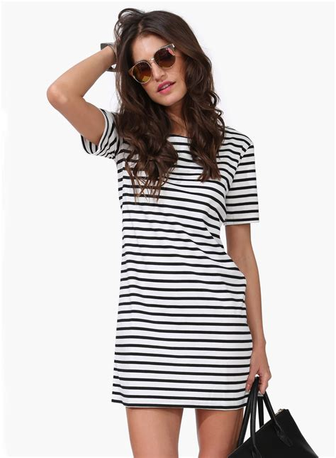 Dress Stripe black white striped sleeve dress