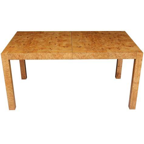 Wood Parsons Dining Table Milo Baughman Burl Wood Parsons Dining Table With Extension Leaves For At 1stdibs