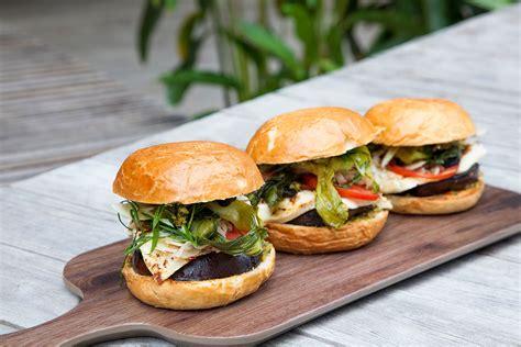 grilled miso eggplant  haloumi burgers burger recipes