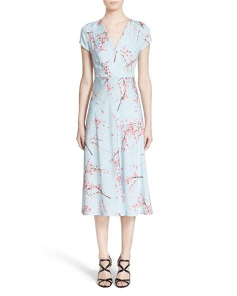 Blue Signature Flower Dress 41672 nordstrom signature and caroline issa floral print silk twill midi dress in blue blue cherry