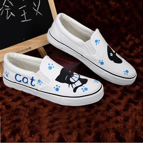 Fish Cat Shoes personalized painted shoes cat fish wrapping foot pedal platform canvas shoes platform