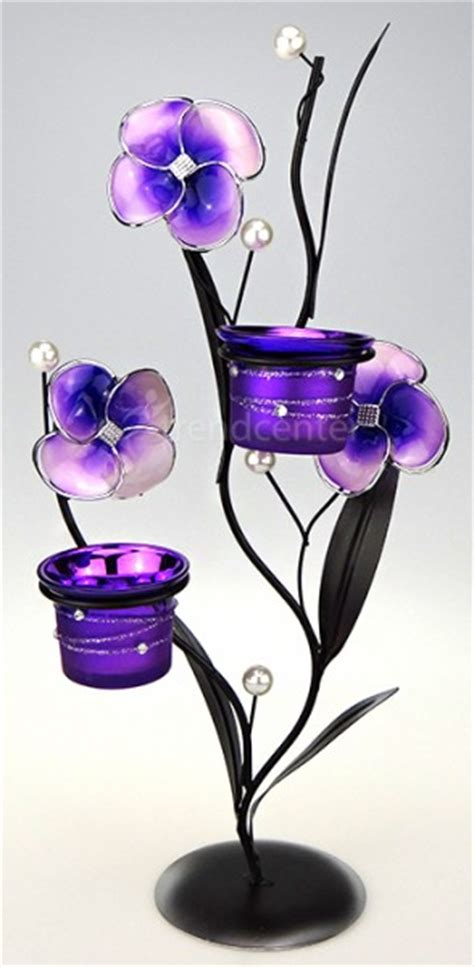 deko teelichthalter deko teelichthalter blume 38cm lila kerzenhalter metall