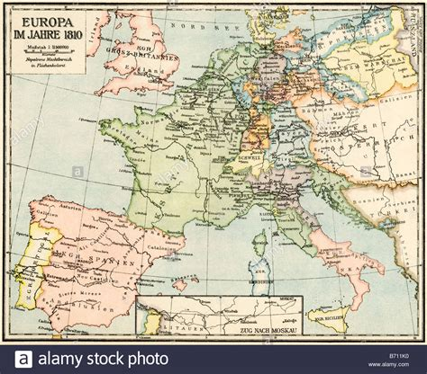 map of europe in german map of europe in 1810 during the napoleonic wars labels