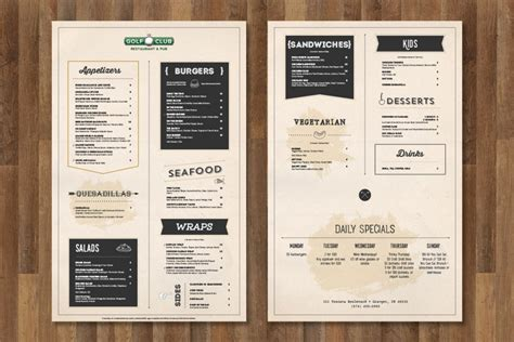 menu design with photos the golf club menu design brandon tabor