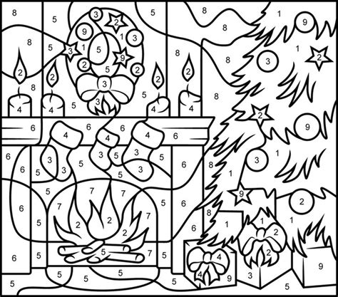 printable hidden picture color by number christmas fireplace printable color by number page