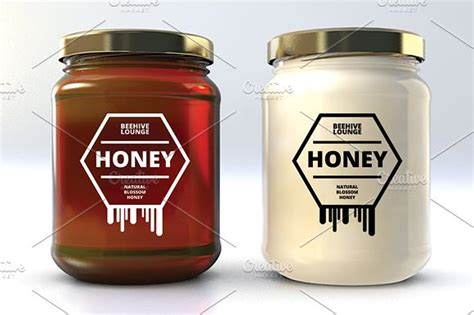 Honey Labels V1 Logo Templates Creative Market Honey Jar Labels Template