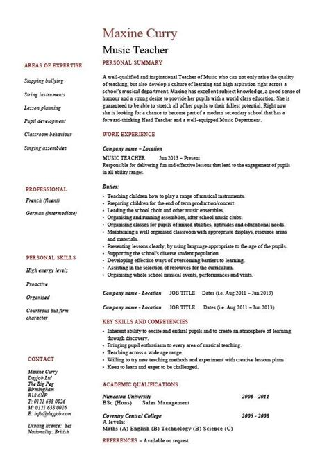 Job Resume Layout Music Teacher Cv Template Job | music teacher cv template job description resume