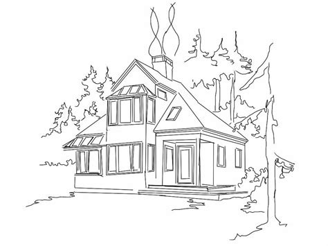 draw my house house drawing black