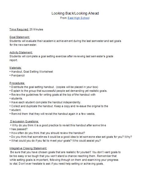 new year lesson plan objectives high school goal setting lesson plan for the new semester