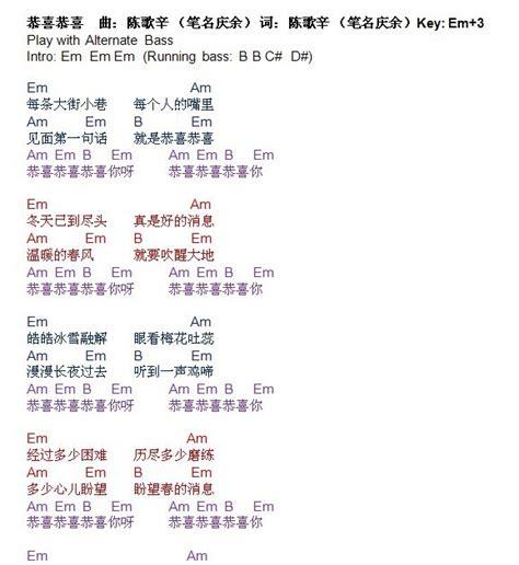 new year song gong xi ni lyrics talkingchord 卓依婷 恭喜恭喜 吉他谱 chords
