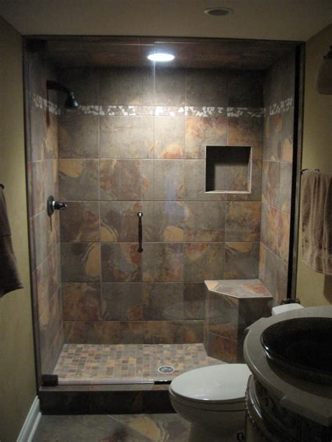 Bathroom Shower Cabins Brown Ceramic Flooring And Wall Tile In Modern Small Bathroom Design With Shower Cabin Using