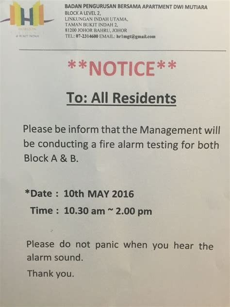 09 May 2016 Horizonresidence Alarm Testing Notice Template