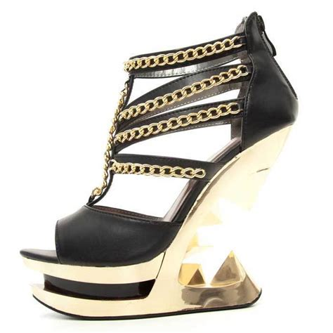 Sandal Wedges Clarette 8240 hades black peep toe strappy shoes gold accent chains iceberg wedge 6 10 heels