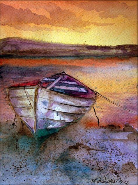 boat art lonely boat art print by krzysztof kowalski art