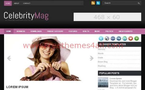 blogger templates for celebrities free celebrity pink black blogger theme template