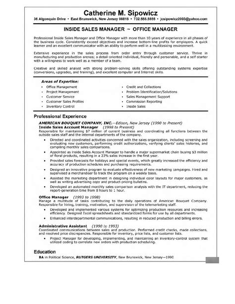 management resumes sles career sales management sle resume