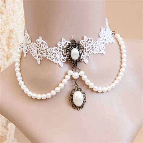 Black Pearl Lace Chocker 8211 choker white lace pearl necklace collar