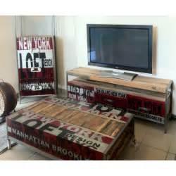 meuble tv loft en fer et bois de bateau recycl 233
