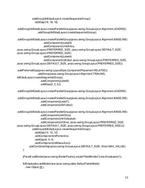 javax swing grouplayout informetecnicou2 topicos