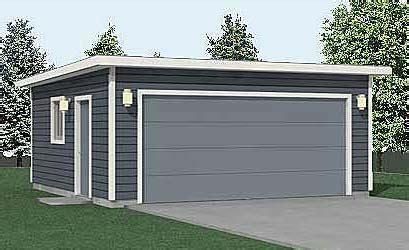 compact  car flat roof garage plan  ft