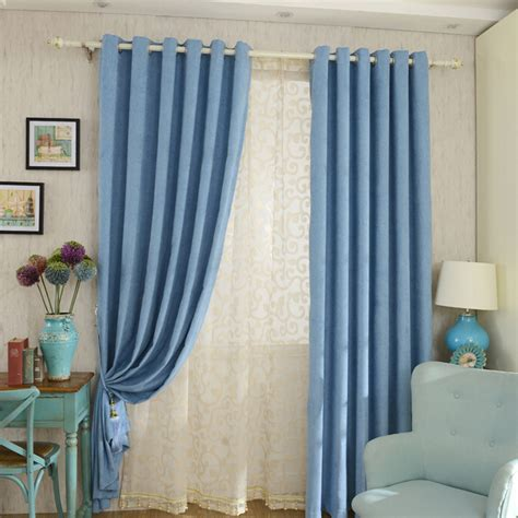 blue bedroom curtains ideas bedroom stylish thick chenille fabric curtains in blue
