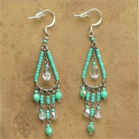 aqua chandelier earrings handmade beaded jewelry from peru chandelier earrings aqua