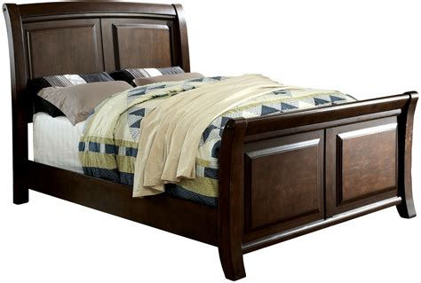 California King Sleigh Bed Litchville Brown Cherry Cal King Sleigh Bed Cm7383ck Furniture Of America