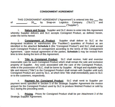 consignment agreement template word consignment agreement 11 documents in pdf word
