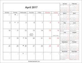 April Calendar Template by April 2017 Calendar With Holidays Weekly Calendar Template