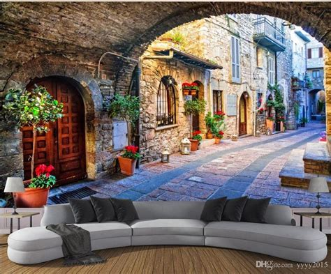 Living Room Wallpaper 3d Background by 3d Wallpaper Living Room Italian Town View 3d