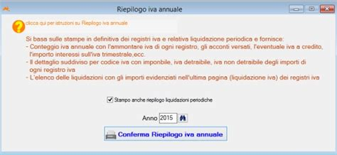 registri iva sezionali tramite conferma riepilogo iva annuale si apre l
