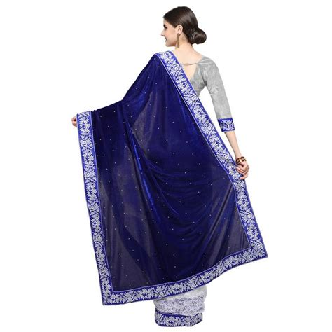 Plain Velvet Blouse buy blue plain velvet saree with blouse