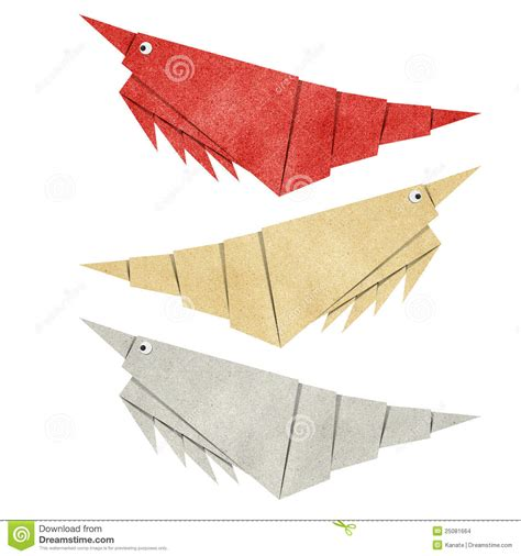 Shrimp Origami - origami shrimp recycled papercraft stock illustration